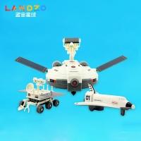 WJ.03.0003,蓝宙 3合1太阳能拼装机器人月球探索战队套装儿童科教玩具diy拼装